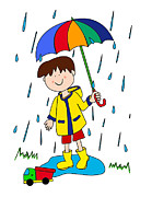 Shower Digital Art - Little boy with umbrella by Sylvie Bouchard