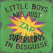 Superhero Paintings - Little Boys are Just... by Debbie DeWitt