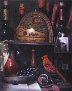 Red Wine Paintings - Little Break With Red Cardinal by Takayuki Harada