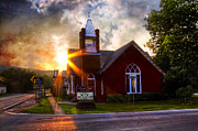 Country Schools Posters - Little Brick Chapel Poster by Debra and Dave Vanderlaan