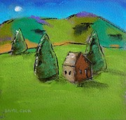 Brown House Pastels Prints - Little Brown Cabin Print by Danyl Cook