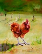 Diane Kraudelt Posters - Little Brown Hen Poster by Diane Kraudelt