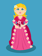 Ball Gown Prints - Little cartoon princess with flowers Print by Sylvie Bouchard