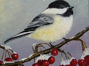 On A Branch Paintings - Little Chickadee by Sonia Palik