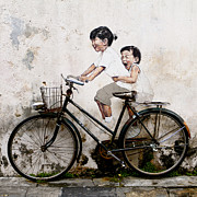 Donald Chen Framed Prints - Little Children on a Bicycle Framed Print by Donald Chen