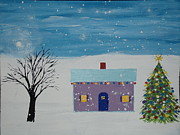 Snowy Trees Paintings - Little Christmas House by Daniel Nadeau