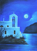 Greece Painting Originals - Little Church by the Sea by Susi Galloway