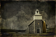 Prairie Skies Art Prints - Little Church on the Prairie Print by Karen Slagle
