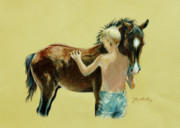 Horse Drawings Prints - Little Colts Print by Jill Westbrook