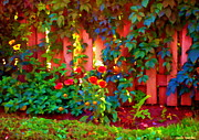 Garden Scene Paintings - Little Country Scene Pink Flowers Climbing Leaves On Wood Fence Colors Of Quebec Art Carole Spandau by Carole Spandau