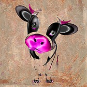 Backdrop Digital Art - Little Cow by Liane Wright