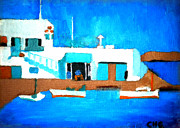 Hera Paintings - Little cute spot on Greek island by Colette V Hera  Guggenheim