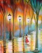 Lamp Post Mixed Media Prints - Little Debbie Playing in the Rain Print by Chris Fraser