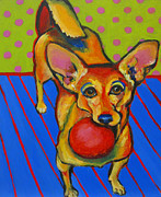 Chihuahua Colorful Art Prints - Little Dog Big Ball Print by Janet Burt