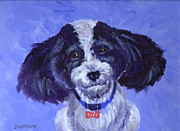 Toy Dog Posters - Little Dog Blue Poster by Richard De Wolfe