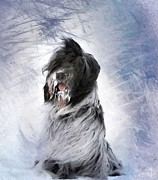 Stormy Weather Digital Art Posters - Little doggie in a snowstorm Poster by Gun Legler