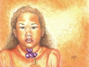 African American Artist Pastels - Little Doll by Alga Washington