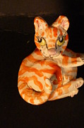 Stoneware Sculptures - Little fat cat sculpture by Debbie Limoli
