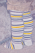 Yellow Line Prints - Little Feet-Yellow Print by Molly McPherson