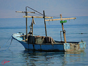 Oceon Posters - Little Fishingboat Nuweiba Beach Sinai Egypt Poster by Colette V Hera  Guggenheim
