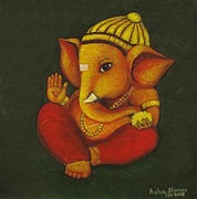 Acrylic On Canvas Board Paintings - Little Ganesha by Asha Sudhaker Shenoy