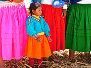 Friendly Digital Art - Little Girl Amid Bright Skirts of Women on Isla Jacha Challwa on Lake Titicaca  by Ruth Hager