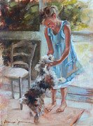 Dog Study Art - Little Girl and Dog by Tanya Jansen