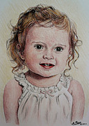 Faces Drawings - Little girl by Andrew Read
