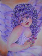 Angel Drawings - Little Girl Angel by Lucia Parga-Navarro