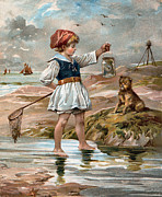 Little Girl At The Beach Print by Unknown