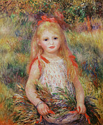 Youthful Framed Prints - Little Girl Carrying Flowers Framed Print by Pierre Auguste Renoir