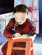 Homework Paintings - Little girl from Mongolia doing her homework by Barbara Jacquin