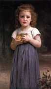Little Girl Digital Art Prints - Little girl holding apples in her hands Print by William Bouguereau