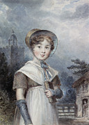 Bonnet Prints - Little Girl in a Quaker Costume Print by Isaac Pocock