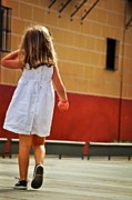 Little Girl Photos - Little Girl in White Dress by Mary Machare