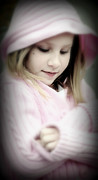 Jon Van Gilder Framed Prints - Little Girl Pink Framed Print by Jon Van Gilder