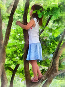 Branches Art - Little Girl Playing in Tree by Susan Savad