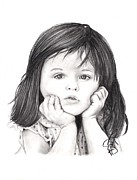 Charcoal Portrait Posters - Little Girl Poster by Rosalinda Markle