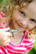 Light-years Posters - Little Girl Smiling And Holding A Frog Poster by Cindy Pichette