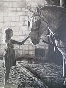 Drawn Pastels Prints - Little Girl With Draft Horse Pastel Print by Julia Sweda-Artworks by Julia