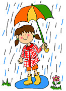 Shower Digital Art - Little girl with umbrella cartoon by Sylvie Bouchard