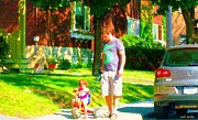 Montreal Street Life Paintings - Little Girls First Bike Lesson With Dad Beautiful Tree Lined Street Summer Scene Carole Spandau  by Carole Spandau