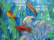 Sea View Mixed Media Framed Prints - Little gold fish Framed Print by Jeannine Clesie