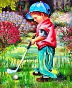 Sports Art Paintings - Little Golf Pro by Elizabeth Coats