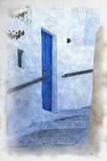 Wooden Building Mixed Media Prints - Little Greek Street Steps Print by Brian Raggatt
