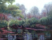 Reflections Of Trees In River Paintings - Little Harpeth River by Janet King