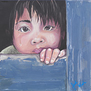 Crying Boy Paintings - Little Heart Big Feelings by Jackie Miller