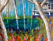 Spring Time Painting Originals - Little house by the lake by Michael Alvarez