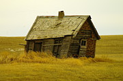 Old Abandoned Houses Posters - Little House On The Big Prairie Poster by Jeff  Swan