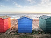 Beach Hut Posters - Little huts of color Poster by Sharon Lisa Clarke